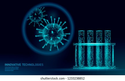Test tube virus 3D low poly render. Laboratory analysis infection chronic disease Hepatitis virus influenza flu infect organism, aids. Modern science technology medicine thearment vector illustration