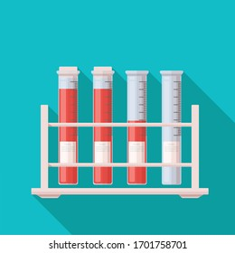 Test tubes icon. Flat vector design element blood test tubes.