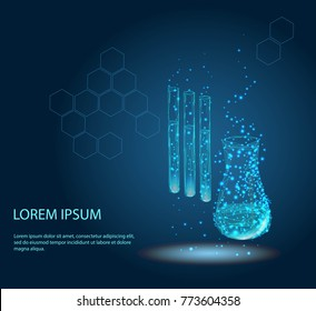 Test tubes isolated from low poly wireframe on blue background. Science and analyses. Vector abstract polygonal image mash line and point. Digital graphics.