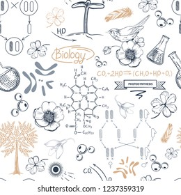 Test tubes, scheme of photosynthesis, flowers, birds, molecules  and chromosomes. A seamless pattern on the theme of biology.