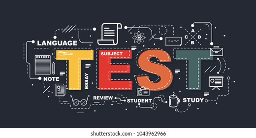 Test word for education with icons flat design
