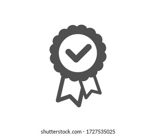 Tested stamp icon. Approved medal sign. Certificate award symbol. Classic flat style. Quality design element. Simple tested stamp icon. Vector