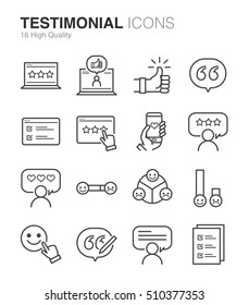 Testimonial and Feedback line icons. Included the icons as review, like, opinion, customer, satisfaction, survey and more.