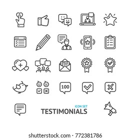 Testimonial, Feedback and Review Signs Black Thin Line Icon Set Isolated on White Background Positive Symbol. Vector illustration