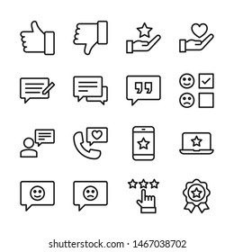 Testimonial line icons set vector illustration. Contains such icon as comment, feedback, review, rating, survey and more. Editable stroke