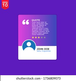 Testimonial or quotes template with text placeholder for websites. Suitable for web and mobile app isolated on background, illustration template design and creative presentation. Vector