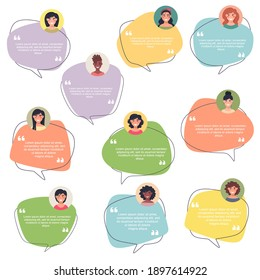 Testimonial Speech bubble concept, collection of female avatars, customer testimonials of information graphics, app and website. Creative testimonial template with different forms. Vector illustration