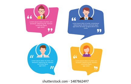 Testimonial Speech bubble concept, customer feedback for info graphic, application and website. Creative testimonials template with different shapes. Vector Illustration