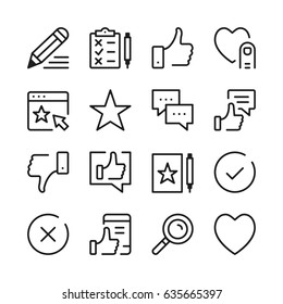 Testimonials and customer feedback line icons set. Modern graphic design concepts, simple outline elements collection. Vector line icons
