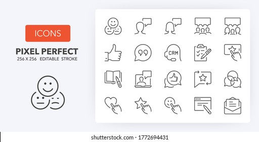 Testimonials and customer relationship management thin line icon set. Outline symbol collection. Editable vector stroke.