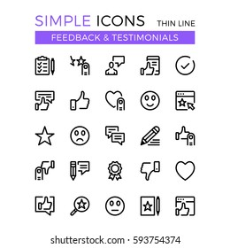 Testimonials, feedback, social network vector thin line icons set. 32x32 px. Flat line graphic design concept for website, web design, mobile app, infographics. Pixel perfect vector outline icons set