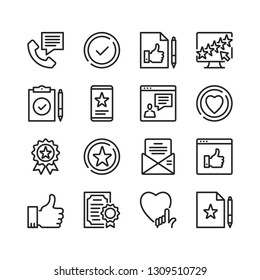 Testimonials icons set. Pixel perfect. Thin line design. Vector line icons set