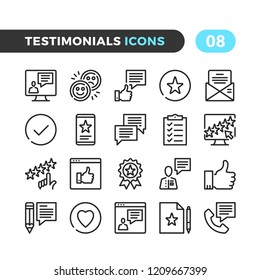 Testimonials line icons. Outline symbols collection. Premium quality. Pixel perfect. Vector thin line icons set