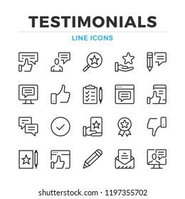 Testimonials line icons set. Modern outline elements, graphic design concepts, simple symbols collection. Vector line icons