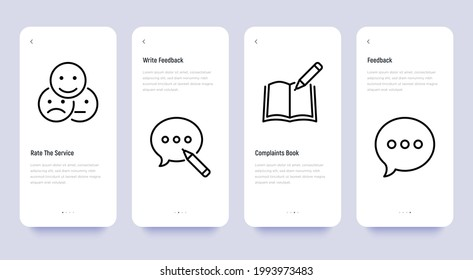 Testimonials mobile user interface with thin line icons set: rate service in app, review, complaints book. Pixel perfect, editable stroke. Vector illustration.