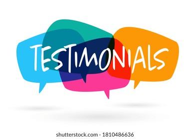 Testimonials on colorful speech bubble