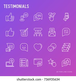 Testimonials and quote thin line icons set of review, feedback, survey, comment. Vector illustration.