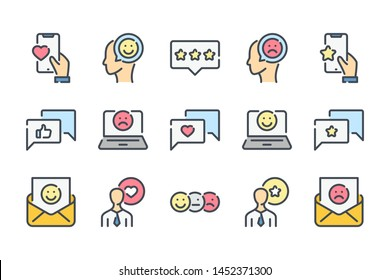 Testimonials related color line icon set. Feedback colorful linear icons. Review and  survey flat color outline vector sign collection.