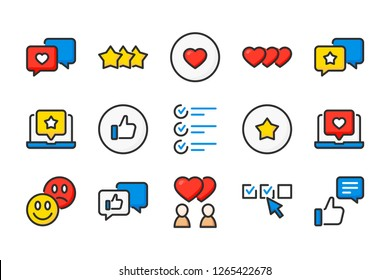 Testimonials related color line icons. Feedback and survey vector linear colorful icon set. Isolated icon collection on white background.