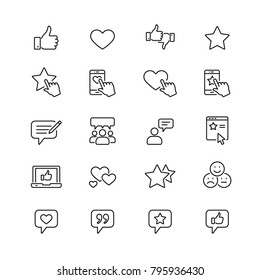 Testimonials related icons: thin vector icon set, black and white kit