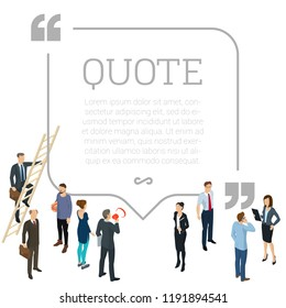 Testimonials square quote shape concept with  young and business people making social network comments. Flat design isometric people.