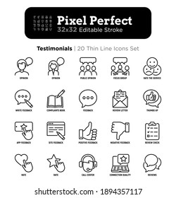 Testimonials thin line icons set: user opinion, group opinion, focus group, rate service in app, positive and negative feedback, review, voting. Pixel perfect, editable stroke. Vector illustration.