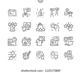 Testimonials Well-crafted Pixel Perfect Vector Thin Line Icons 30 2x Grid for Web Graphics and Apps. Simple Minimal Pictogram