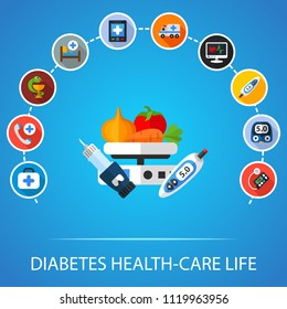 Testing blood glucose flat icons concept. Vector illustration. Element template for design.