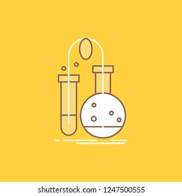 Testing, Chemistry, flask, lab, science Flat Line Filled Icon. Beautiful Logo button over yellow background for UI and UX, website or mobile application
