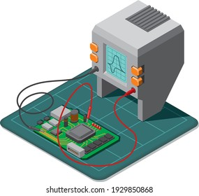 Testing PCB electric components by oscillograph, repairing electronic device, multimeter or tester isometric view. Vector