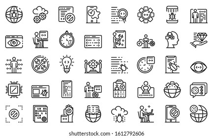 Testing software icons set. Outline set of testing software vector icons for web design isolated on white background