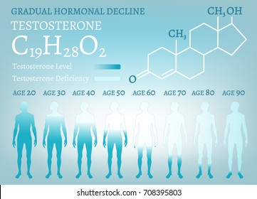 Testosterone Hormone Level. Beautiful medical vector illustration with molecular formula in blue colours. Scientific, educational and popular-scientific concept. Usieful medical infographic.