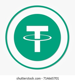 Tether coin cryptocurrency. Vector sign icon. Internet money