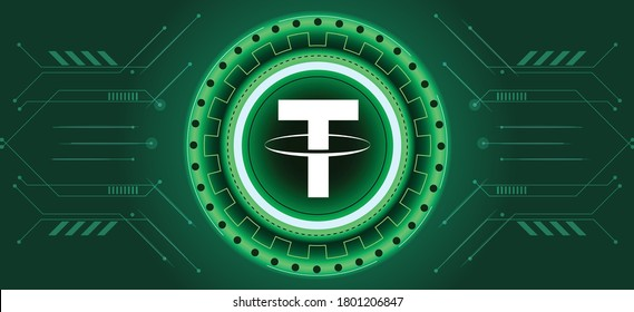 Tether coin symbol with crypto currency themed background design. Modern neon color banner for Tether or USDT icon. Cryptocurrency Blockchain technology, digital FIAT or trade exchange concept.