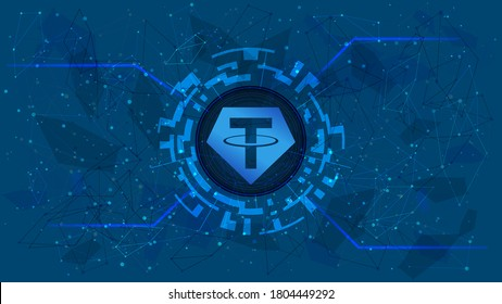 Tether token symbol, USDT coin icon, in a digital circle with a cryptocurrency theme on a blue background. Digital gold in futuristic style for website or banner. Copy space. Vector EPS10.