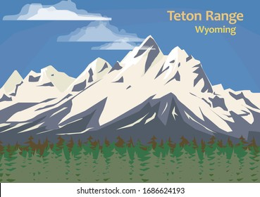 Teton Range, mountain range of the Rocky Mountains in North America, Wyoming, United States, vector illustration