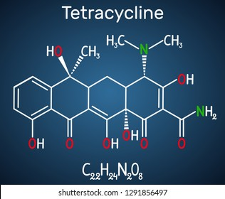 Tetracycline antibiotic drug molecule. Structural chemical formula on the dark blue background. Vector illustration
