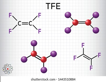 Tetrafluoroethylene or TFE molecule , is a monomer of Polytetrafluoroethylene or PTFE. It belongs to the family of fluorocarbons. Structural chemical formula and molecule model. Sheet of paper in cage