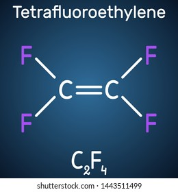 Tetrafluoroethylene or TFE molecule, is a monomer of Polytetrafluoroethylene or PTFE. It belongs to the family of fluorocarbons. Structural chemical formula on the dark blue background.