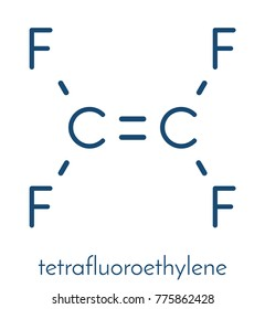 Tetrafluoroethylene (TFE), polytetrafluoroethylene (PTFE) polymer building block. PTFE is used in non-stick coating for cookware and as a lubricant. Skeletal formula.