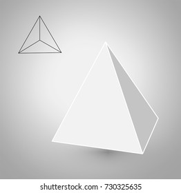 Tetrahedron is a geometric figure. Hipster Fashion minimalist design.Platonic solids. Tetrahedron flat design vector illustrations, thin line art. Vector illustration.