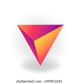 tetrahedron - One 3D geometric shape with holographic gradient isolated on white background, figures, polygon primitives, maths and geometry, for abstract art or logo, vector illustration