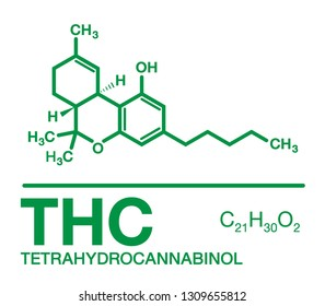 Tetrahydrocannabinol(THC) cannabis molecule. cannabis or hemp or marijuana chemical formula.Green Concept isolated on white background.
