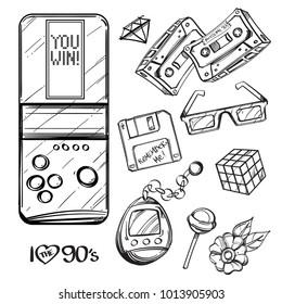 Tetris, audio cassettes, floppy disk, tamagocthi, 3d glasses, Rubik's cube, lollipop. Set of outline vector illustrations isolated on white background.