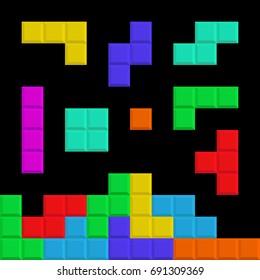 Tetris elements. Brick pieces. Game background Vector illustration