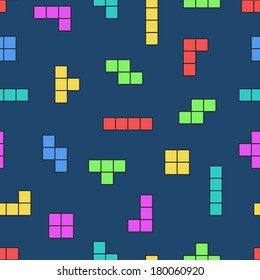 Tetris elements. Vector seamless pattern. Game background. Simple illustration. Use for wallpaper, pattern fills, web page background, surface textures. Easy to edit.