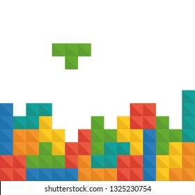 Tetris pixel bricks game vector template