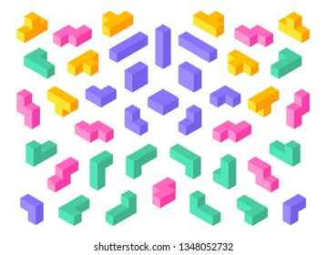 Tetris shapes. Isometric 3D puzzle game elements colorful cube abstract blocks. Vector isometric tetris design objects set