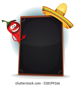 Tex Mex Menu With Chili Pepper And Sombrero/ Illustration of a funny cartoon red hot chili pepper spice, showing blackboard mexican menu for hot meals and and south american food restaurants