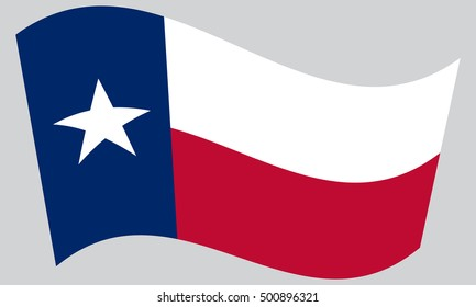 Texan official flag, symbol. American patriotic element. USA banner. United States of America background. Flag of the US state of Texas waving on gray background, vector